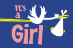 It's a Girl (Stork) Large Flag - 5' x 3'.